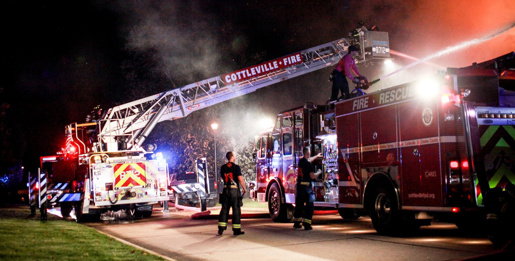 Cottleville Fire crew working a night-time fire